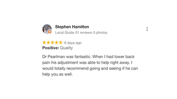 Chiropractic Richardson TX Stephan Hamilton Testimonial